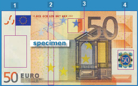 In addition to the basic security features the 50 euro bill also